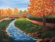 Covered Bridge Painting Metal Prints - Claycomb Covered Bridge SOLD Metal Print by Ruth  Housley