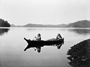Native American Woman Prints - CLAYOQUOT CANOE, c1910 Print by Granger