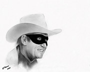 Cowboy Pencil Drawing Posters - Clayton Moore Poster by Arne Hansen