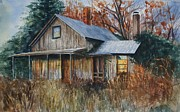 Abandoned House Drawings Prints - Claytons Place Print by Mary Jo Jung