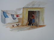 Mexico People Paintings - Cleaning Day in Agladones by Charme Curtin