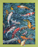 Koi Painting Posters - Clear Creek Koi with painted on mat Poster by Charles Munn