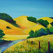 Landscapes Painting Originals - Clear Fall Day at Briones by Stephanie  Maclean
