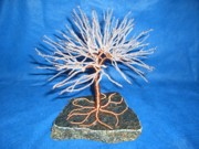 Tree Glass Art Acrylic Prints - Clear Glass Beaded Copper Wire Tree Sculpture on Marble Acrylic Print by Serendipity Pastiche