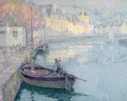 Harbor Paintings - Clear Morning - Quimperle by Henri Eugene Augustin Le Sidaner