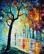 City Park Painting Originals - Clear Night  by Leonid Afremov