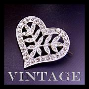 Vintage Jewelry Posters - Clear Vintage Rhinestone Heart Pin Poster by Jai Johnson