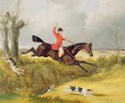 Hound Hounds Framed Prints - Clearing a Ditch Framed Print by John Frederick Herring Snr