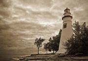 Lighthouses Digital Art Prints - Clearing Storm Print by Dale Kincaid