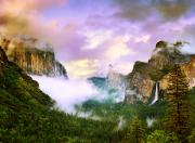 California Landscape Art Posters - Clearing Storm Over Yosemite Valley Poster by Edward Mendes