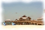 Helicopter Pastels Framed Prints - Clearwater Beach FL Pier Framed Print by Janet Pugh