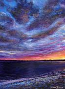 Seascape Pastels Posters - Clearwater Beach Sunset Poster by Susan Jenkins