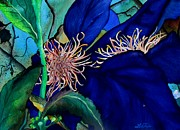 Yellow Leaves Painting Posters - Clematis Regal in Purple and Blue SOLD Poster by Lil Taylor