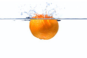 Mandarin Orange Framed Prints - Clementine splash Framed Print by Richard Thomas