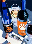 Blue Red And White Posters - Clemson Red and White  Poster by Christopher Mize