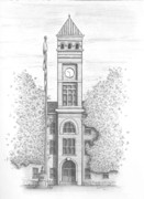 Hall Drawings Prints - Clemson Universitys Tillman Hall Print by Kristen Stevenson