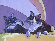 Paw Paintings - Cleo and Cloe by Sandy Tracey