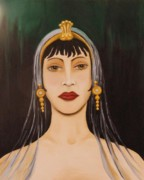 Gold Earrings Painting Metal Prints - Cleo Metal Print by Leah Saulnier The Painting Maniac