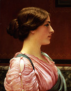 Face In Profile Framed Prints - Cleonice Framed Print by John William Godward