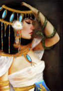 Ancient Digital Art Metal Prints - Cleopatra and the Serpent  Metal Print by Jessica Grundy