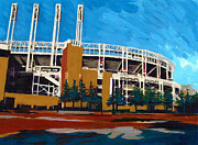 Cleveland Indians Paintings - Cleveland Baseball Stadium by Mary C Haneline