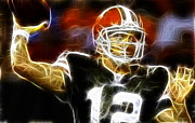 Cleveland Mixed Media Framed Prints - Cleveland Browns Colt McCoy Framed Print by Paul Van Scott