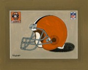 Nfl Sports Paintings - Cleveland Browns Helmet by Herb Strobino