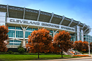 Browns Framed Prints - Cleveland Browns Stadium Framed Print by Kenneth Krolikowski
