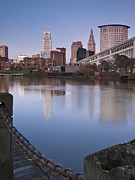Cleveland From The River - Portrait Print by At Lands End Photography