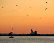 Cleveland Harbor Sunset Print by Jon Holiday