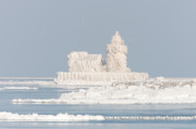 Wintertime Framed Prints - Cleveland Harbor West Pierhead Light II Framed Print by Clarence Holmes