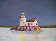 Cleveland Painting Posters - Cleveland Harbor West Pierhead Lighthouse Poster by CB Woodling