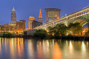 Terminal Prints - Cleveland Night Skyline I Print by Clarence Holmes