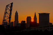Silhouette - Cleveland Skyline at Sunrise I by Clarence Holmes