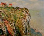 1882 Framed Prints - Cliff at Dieppe Framed Print by Claude Monet
