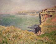 Calm Waters Posters - Cliff at Varengeville Poster by Claude Monet