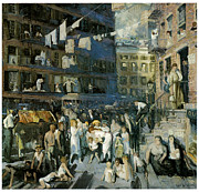 American City Scene Framed Prints - Cliff Dwellers Framed Print by George Bellows