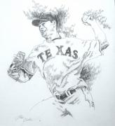 Baseball Art Drawings Originals - Cliff Lee by Otis  Cobb