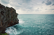 Mediterranean Framed Prints - Cliff Line And Stormy Mediterranean Sea Framed Print by Guido Mieth