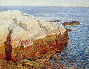 Low Tide Paintings - Cliff Rock Appledore by Childe Hassam