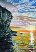 Cave Pastels Prints - Cliff sunset Print by Bob Northway