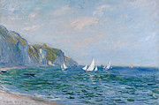 Sailboat Ocean Prints - Cliffs and Sailboats at Pourville  Print by Claude Monet