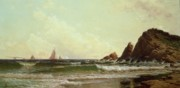Boat On Beach Paintings - Cliffs at Cape Elizabeth by Alfred Thompson Bricher