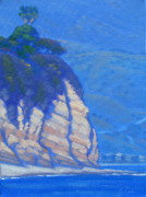Surfing Art Paintings - Cliffs at Point Dume by Elena Roche
