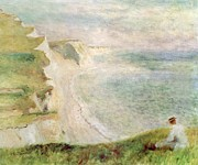 Auguste Renoir Framed Prints - Cliffs at Pourville Framed Print by Pierre Auguste Renoir