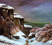 Courbet Posters - Cliffs By The Sea In Snow Poster by Pg Reproductions