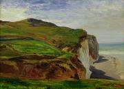 Gabriel Metal Prints - Cliffs Metal Print by Louis Eugene Gabriel Isabey