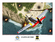World War Two Photo Posters - Cliffs Of Fire Poster by Jerry Taliaferro