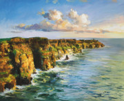 Dappled Light Framed Prints - Cliffs of Mohar 2 Framed Print by Conor McGuire