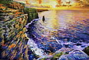 Sun Rays Painting Posters - Cliffs of Moher at Sunset Poster by Conor McGuire